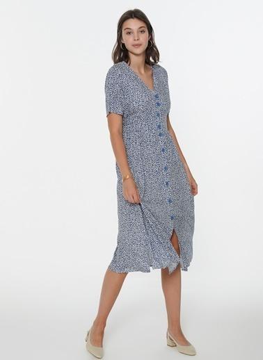Loves You  V Yaka Desenli Düğmeli Cotton Elbise Mavi